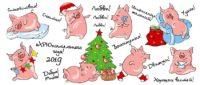 Новогодние кружки в подарок для детей и взрослых, кружка на новый год 2019, новогодние кружки для школьников, для детского сада, для коллег, для родственников, новогодние кружки в подарок, что подарить на новый год 2019, свинья, кабан, год свиньи, кружка с хрюшкой