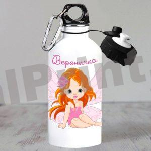 Спортивная бутылка для воды девочкам с феечкой котики милота