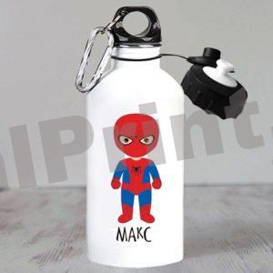 Именные спортивные бутылки для воды, купить спортивную бутылку, бутылка для воды именная, бутылки для воды с логотипом, бутылка с 23 февраля, детская бутылка для воды, бутылка супергерои, человек-паук