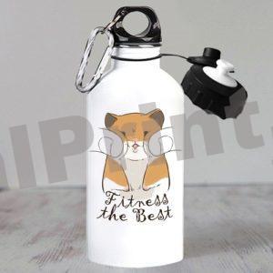 Спортивная бутылка для фитнеса, бутылка с хомяком, хомяк, хомячок, фитнес форева