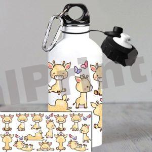 именная спортивная бутылка для воды детская бутылка подарок девочке на 8 марта жирафики