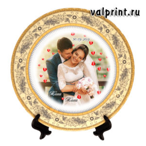 Тарелка с фото свадьбы на заказ