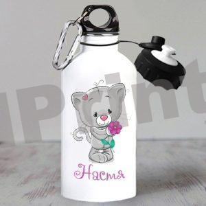 Именная бутылка с котенком teddy friends