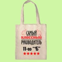 экосумка, экоавоська, сумка шоппер с принтом, сумка самый классный руководитель, подарок учителю