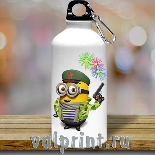 Спортивная бутылка для воды «Миньон военный»