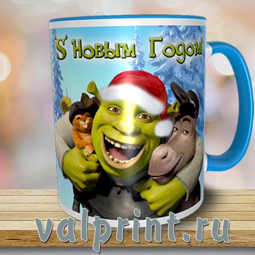 """Кружка новогодняя """"Шрек"""" с героями любимых мультфильнов, кружка с ослом"""
