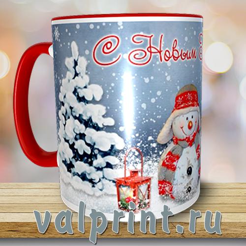 """Кружка новогодняя """"Снеговик"""" - нарядная зимняя кружка-настроение, с милейшим снеговиком и новогодним поздравлением."""
