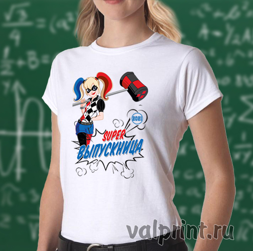 "Футболка ""Супер выпускница"" Харли Квинн, футболка комиксы, футболка DC"